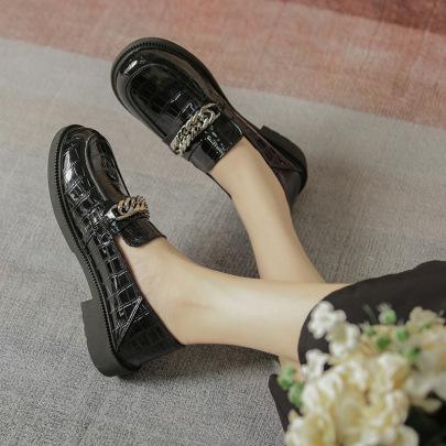 Fashion Golden Chain Decor Leather Shoes Nihaostyles Wholesale Clothing Vendor NSCA72159