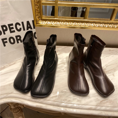 Chic Side Zipper Thinleather Boot Nihaostyles Wholesale Clothing Vendor NSCA72161