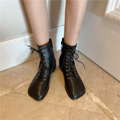 Fashion Lace Up Thick Heel Short Boots Nihaostyles Wholesale Clothing Vendor NSCA72163