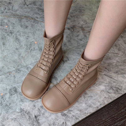 Round Toe Short Flat Bottom Martin Boots Nihaostyles Wholesale Clothing Vendor NSCA72165