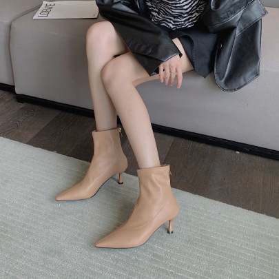 Mid-heel Thin Elastic Back Zipper Short Boots Nihaostyles Wholesale Clothing Vendor NSCA72173