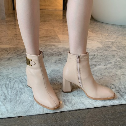 Square Toe Soft Leather Thick-heeled Small Short Boots Nihaostyles Wholesale Clothing Vendor NSCA72174