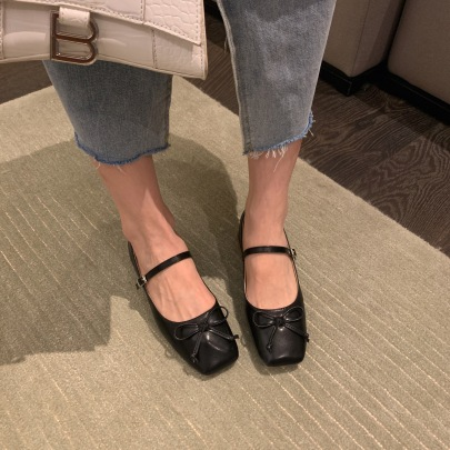 Fashion Bow Tie Decor Squre Toe Flats Nihaostyles Wholesale Clothing Vendor NSCA72179