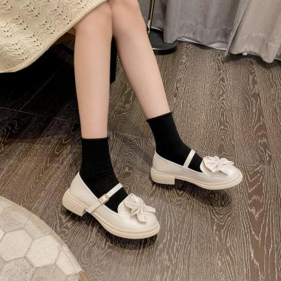 Round Head Thick Heel Shallow Bow Shoes Nihaostyles Wholesale Clothing Vendor NSCA72180