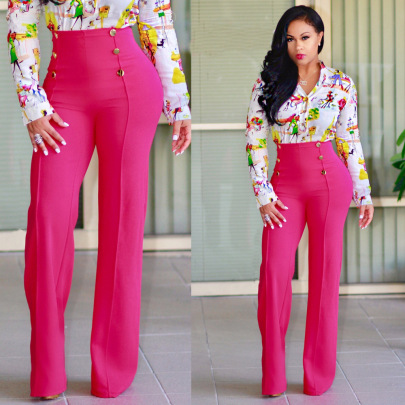 Buttons Wild Slim Straight Trousers Nihaostyles Wholesale Clothing Vendor NSJRM72188