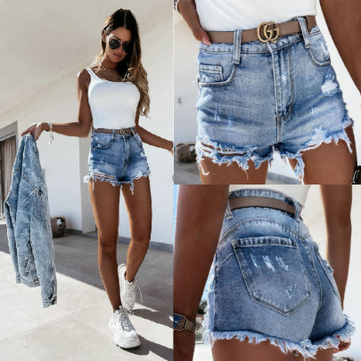 Wash Water Hole Straight Mid-waist Denim Shorts Nihaostyles Wholesale Clothing Vendor NSJRM72191