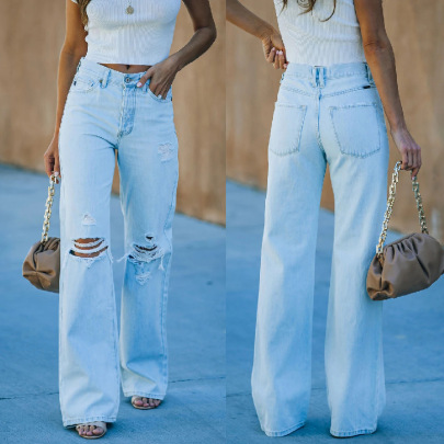 Casual Ripped Straight Wash Jeans Nihaostyles Wholesale Clothing Vendor NSJRM72193