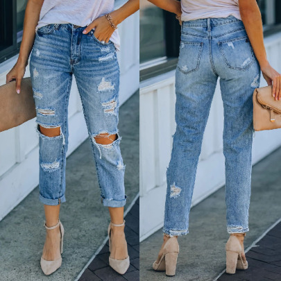 Washed Water Ripped Straight Leg Jeans Nihaostyles Wholesale Clothing Vendor NSJRM72194