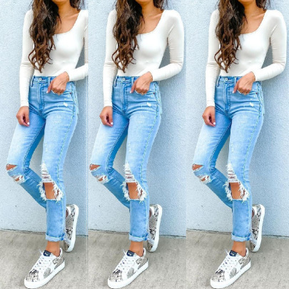 High Waist Ripped Washed Water Jeans Nihaostyles Wholesale Clothing Vendor NSJRM72199