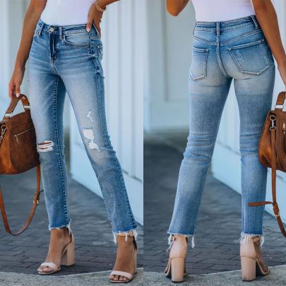 Raw Edge Straight Hole Jeans Nihaostyles Wholesale Clothing Vendor NSJRM72201