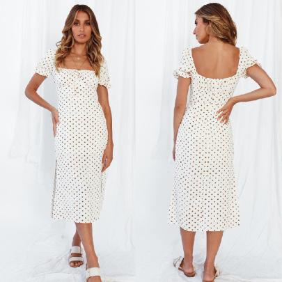 Short-sleeved Polka-dot Chest Lace-up Hem Slit Dress Nihaostyles Wholesale Clothing Vendor NSJRM72215