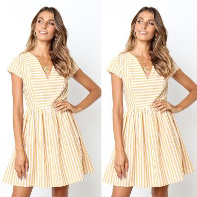 Short-sleeved V-neck Striped Stitching Loose Dress Nihaostyles Wholesale Clothing Vendor NSJRM72217