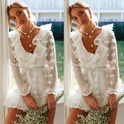 V-neck Lace Long-sleeved Dress Nihaostyles Wholesale Clothing Vendor NSJRM72218