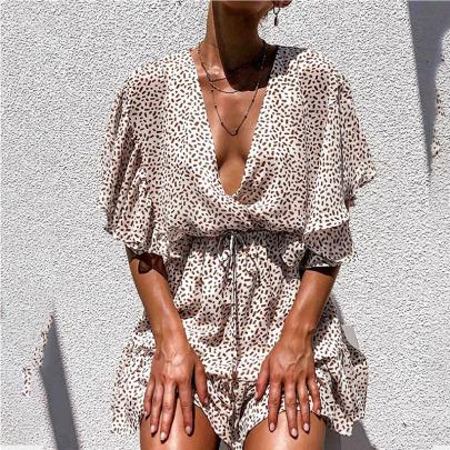 Deep V-neck Loose Chiffon Ruffled Beach Dress Nihaostyles Wholesale Clothing Vendor NSJRM72219