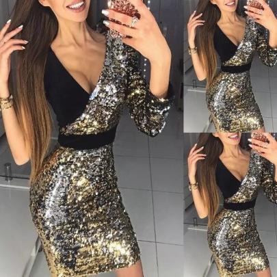Mid-waist Long-sleeved V-neck Dress Nihaostyles Wholesale Clothing Vendor NSJRM72224