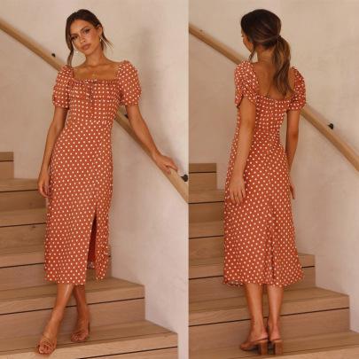 Lace-up Short-sleeved Square Collar Polka-dot Dress Nihaostyles Wholesale Clothing Vendor NSJRM72228
