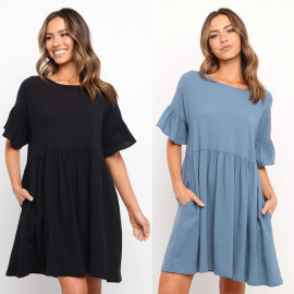 Ruffled Solid Color Round Neck Short-sleeved Dress Nihaostyles Wholesale Clothing Vendor NSJRM72230