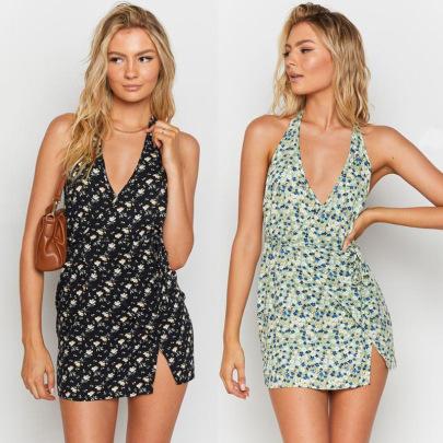 Halter Sleeveless V-neck A-line Dress Nihaostyles Wholesale Clothing Vendor NSJRM72233