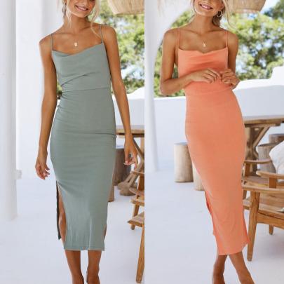 Cotton Sling Split Solid Color Mid Dress Nihaostyles Wholesale Clothing Vendor NSJRM72234