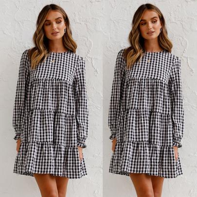 Long-sleeved Round Neck Big Swing Plaid Loose Dress Nihaostyles Wholesale Clothing Vendor NSJRM72243