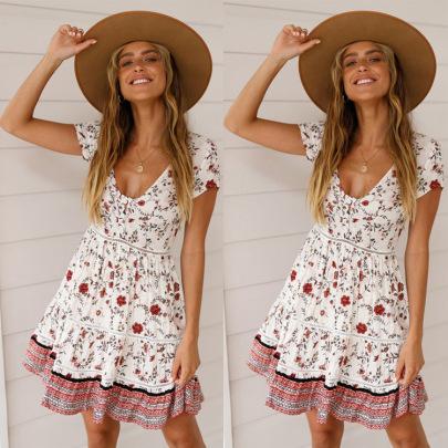 V-neck Hollow Short-sleeved Bohemian Printed Dress Nihaostyles Wholesale Clothing Vendor NSJRM72245