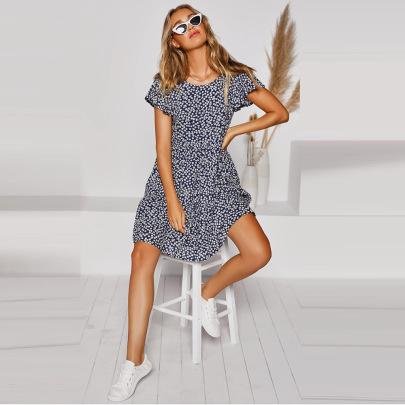 Women's Round Neck Floral Dress Nihaostyles Clothing Wholesale NSHYG72254