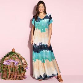 Women's Loose Lazy V-neck Printed Dress Nihaostyles Clothing Wholesale NSHYG72282