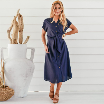 Women's Short-sleeved Solid Color Button Strap V-neck Dress Nihaostyles Clothing Wholesale NSHYG72283