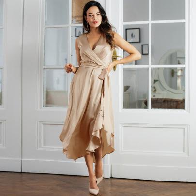 Sexy V-neck Imitation Silk Irregular Dress Nihaostyles Wholesale Clothing Vendor NSHYG72298
