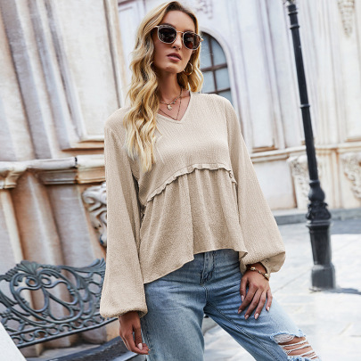 V-neck Pullover Ruched Top Nihaostyles Wholesale Clothing Vendor NSLM72308