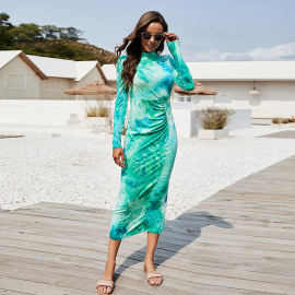 Collar Long-sleeved Tight Elastic Tie-dye Printing Dress Nihaostyles Wholesale Clothing Vendor NSLM72309