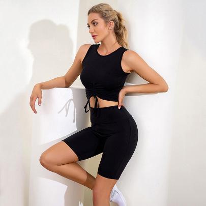 Pleated Straps Vest Sports Two-piece Set Nihaostyles Wholesale Clothing Vendor NSLM72310