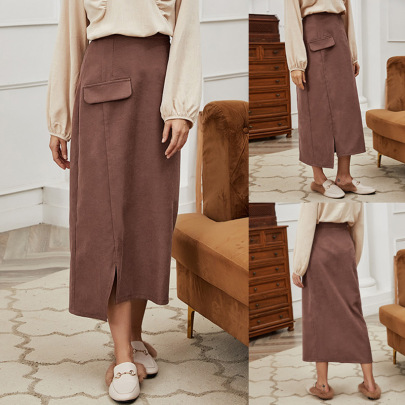 Fashion Solid Color Waist Simple Skirt Nihaostyles Wholesale Clothing Vendor NSLM72313