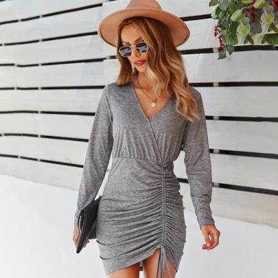 Elegant V-neck Solid Color Dress Nihaostyles Wholesale Clothing Vendor NSKA72317