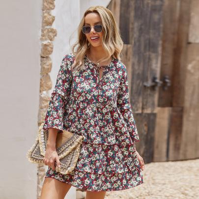 Fashion Floral Printed Dresses Nihaostyles Wholesale Clothing Vendor NSKA72327