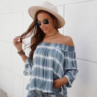One-shoulder Nine-point Sleeve Loose Top Nihaostyles Wholesale Clothing Vendor NSKA72330