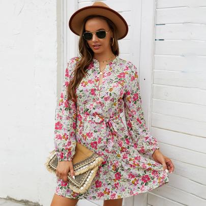 Fashion Floral Printed Dress Nihaostyles Wholesale Clothing Vendor NSKA72331