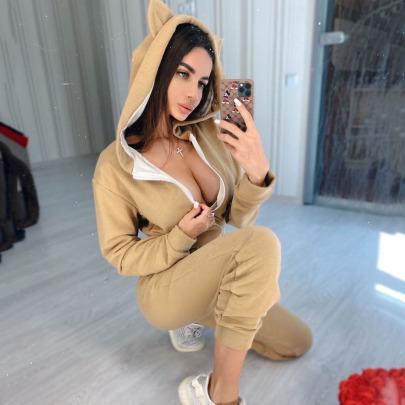Fashion Plain Color Hooded Jumpsuit Nihaostyles Wholesale Clothing Vendor NSMUZ72377
