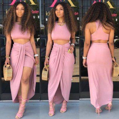 Short Sleeve Long Skirt Set Nihaostyles Wholesale Clothing Vendor NSMUZ72381