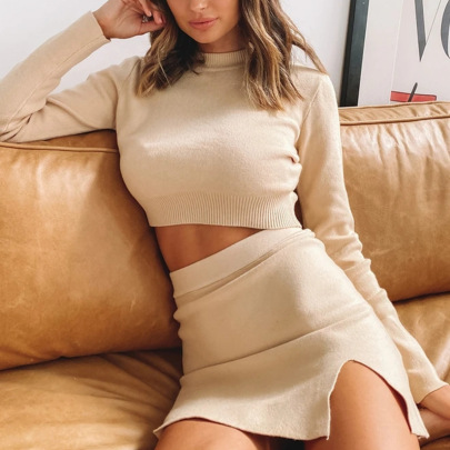 Fashion Sweater Skirt Two-piece Set Nihaostyles Wholesale Clothing Vendor NSMUZ72394