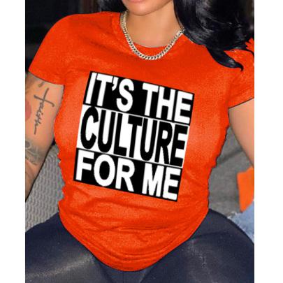 Women's English Printed Casual Short-sleeved T-shirt Nihaostyles Clothing Wholesale NSYAY73754