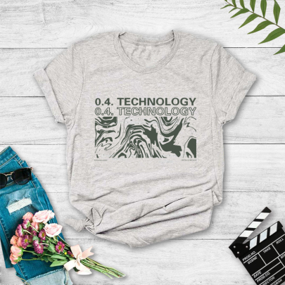 Women's Landscape Painting Ocean Waves English Printing Casual Short-sleeved T-shirt Nihaostyles Clothing Wholesale NSYAY73764