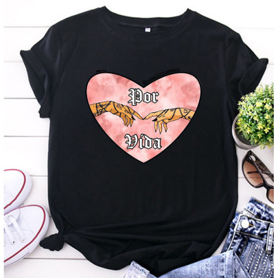 Women's Heart-shape Retro Printed Casual Short-sleeved T-shirt Nihaostyles Clothing Wholesale NSYAY73763