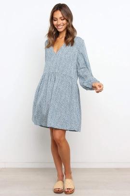 Women's Loose V-neck Elastic Sleeves Printed Dress Nihaostyles Clothing Wholesale NSJRM72421