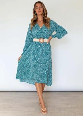 Women V-neck Long-sleeved Printing Mid-length Dress Nihaostyles Clothing Wholesale NSJRM72422