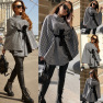 Women's Houndstooth Woolen Loose Tie Cloak Coat Nihaostyles Clothing Wholesale NSXPF72443