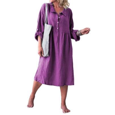 Women's Loose Button Mid-length Dress Nihaostyles Clothing Wholesale NSXPF72456