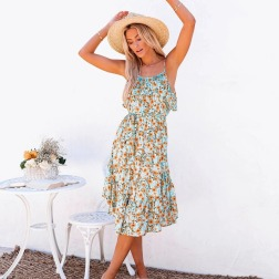 Women's Flower Print Ruffled Sling Mid-length Dress Nihaostyles Clothing Wholesale NSXPF72457