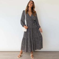 Women's V-neck Long-sleeved Printing Big Pleated Dress Nihaostyles Clothing Wholesale NSXPF72458