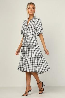 Women's Plaid Lace Lapel Button Decorative Dress Nihaostyles Clothing Wholesale NSXPF72460